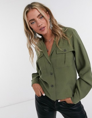 Object cropped blazer two-piece with utility pockets in burnt olive