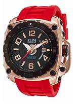 Elini Barokas Men's 'The General' Swiss Quartz Stainless Steel and Silicone Casual Watch, Color:Red (Model: ELINI-20009-RG-01-BB-RDS)