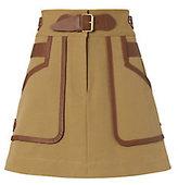Derek Lam 10 Crosby Leather Trimmed Khaki Skirt