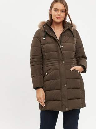 Evans Faux Fur Trim Padded Coat - Khaki
