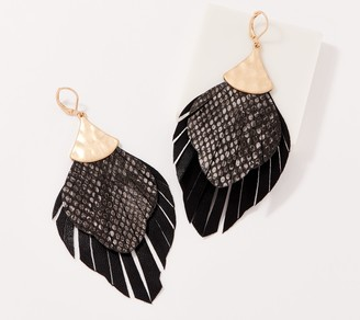 Susan Graver Faux Leather and Faux Snakeskin Fringe Earrings