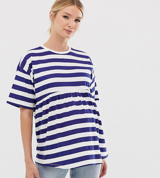 Asos DESIGN Maternity smock t-shirt in washed blue stripe