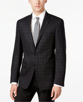 Calvin Klein Men's Slim-Fit Black Plaid Sport Coat