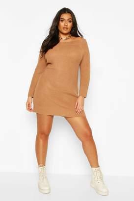 boohoo Plus Knitted Off The Shoulder Jumper Dress