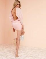 Asos Design DESIGN Luxe milkmaid mini dress in jacquard print