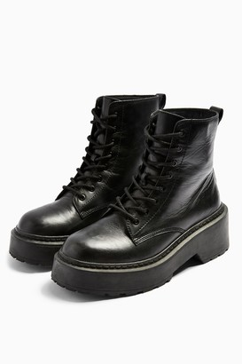 Topshop AUSTIN Black Leather Chunky Lace Up Boots
