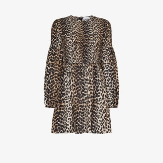 Ganni Leopard Print Balloon Sleeve Smock Dress