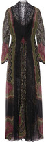 Etro Lace-paneled Printed Crinkled-silk Gown - Black