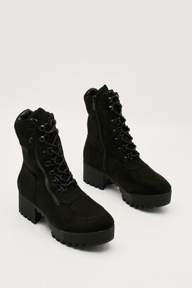 Nasty Gal Womens Black Lace Up Boots with Block Heel