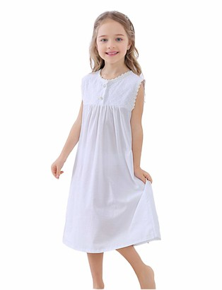 Chenxi Kids Girls Soft Cotton Nightie Lace Sleep Nightdress Long Princess Nightgown(White 5-6 Years)