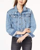 Tinseltown Juniors' Ripped Embellished Denim Jacket