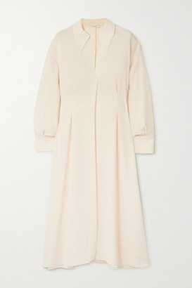Vince Crepe Midi Shirt Dress - Ivory