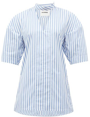 Jil Sander Candy-striped V-neck Cotton Shirt - Blue White