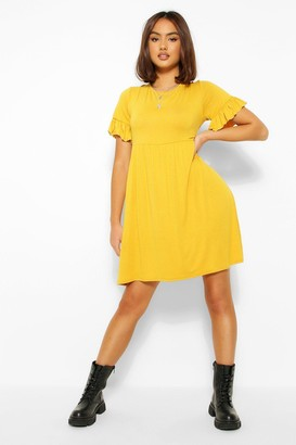 boohoo Basic Frill Sleeve Smock Dress
