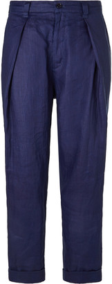 Blue Blue Japan Indigo-Dyed Tapered Pleated Linen Trousers - Men - Blue