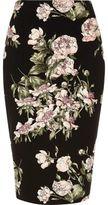 River Island Womens Black floral print pencil skirt