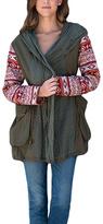 Paparazzi Olive Jacquard-Sleeve Hooded Zip-Up Jacket
