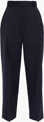 Sandro Navam Cropped Pleated Twill Straight-leg Pants