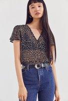 Ecote Sheer Floral Short Sleeve Top