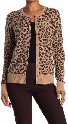 Magaschoni Leopard Print Button Front Cashmere Cardigan
