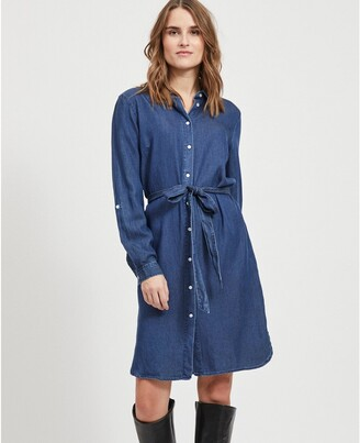 Vila Knee-Length Shirt Dress with Tie-Waist and Long Sleeves