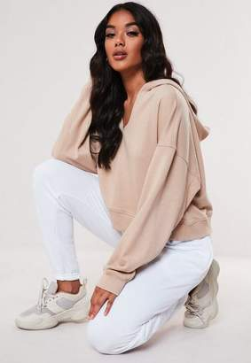 Missguided Petite Sand Oversized Notch Neck Hoodie