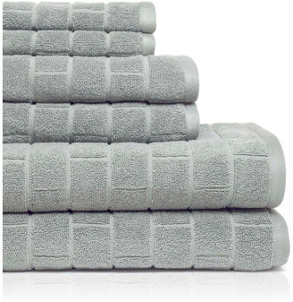 American Dawn Textured Cobblestone Tiles 6 Piece Towel Set, Silver Sage