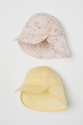 H&M 2-pack Cotton Sun Hats - Yellow