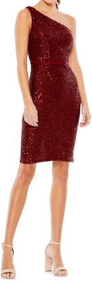 Mac Duggal Sequin One-Shoulder Cocktail Dress