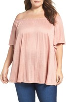 Bobeau Plus Size Women's Knit Off The Shoulder Peasant Top