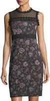 Nanette Lepore Adela Floral-Jacquard Sleeveless Sheath Dress w/ Lace Inset