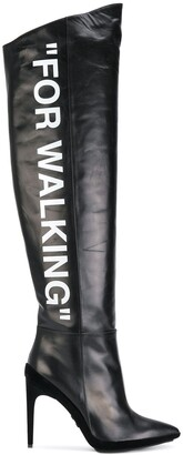 "Off-White ""For Walking"" knee-high boots"