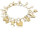 """Mercedes Salazar Handmade Mama Gold-Plated Bronze and Fresh Water Pearls Charm Bracelet, 6"""""""