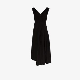 Marni Asymmetric Pleated Cotton Maxi Dress
