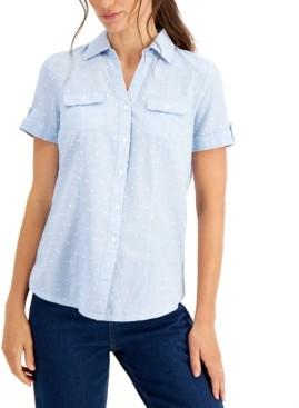 Karen Scott Petite Cotton Dot-Print Shirt, Created for Macy's