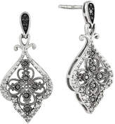 FINE JEWELRY 1/4 CT. T.W. White and Color-Enhanced Black Diamond Sterling Silver Filigree Drop Earrings