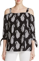 Design History Paisley Print Cold Shoulder Top