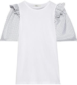 Clu Polka-dot Satin-paneled Cotton-jersey T-shirt