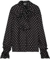 Loewe Pussy-bow Polka-dot Silk-twill Blouse - Black