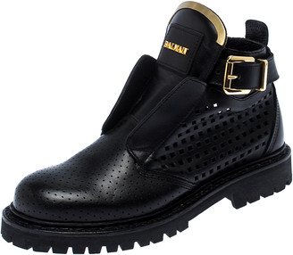Balmain Black Perforated Leather Buckle Ankle Boots Size 36