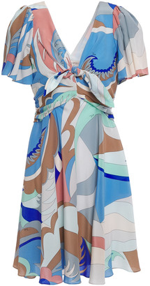 Emilio Pucci Knotted Printed Silk Crepe De Chine Mini Dress