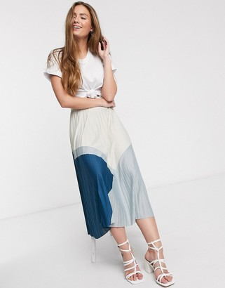 Asos DESIGN color block pleated midi skirt