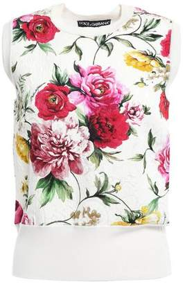 Dolce & Gabbana Floral-jacquard And Stretch-knit Top