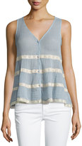 Love Sam Lightweight Lace-Trim Tank, Blue/Ivory