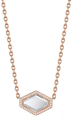 Walters Faith Bell Diamond and Rock Crystal Hexagon Pendant Rose Gold Necklace