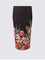 M&S Collection Scuba Floral Print Pencil Midi Skirt