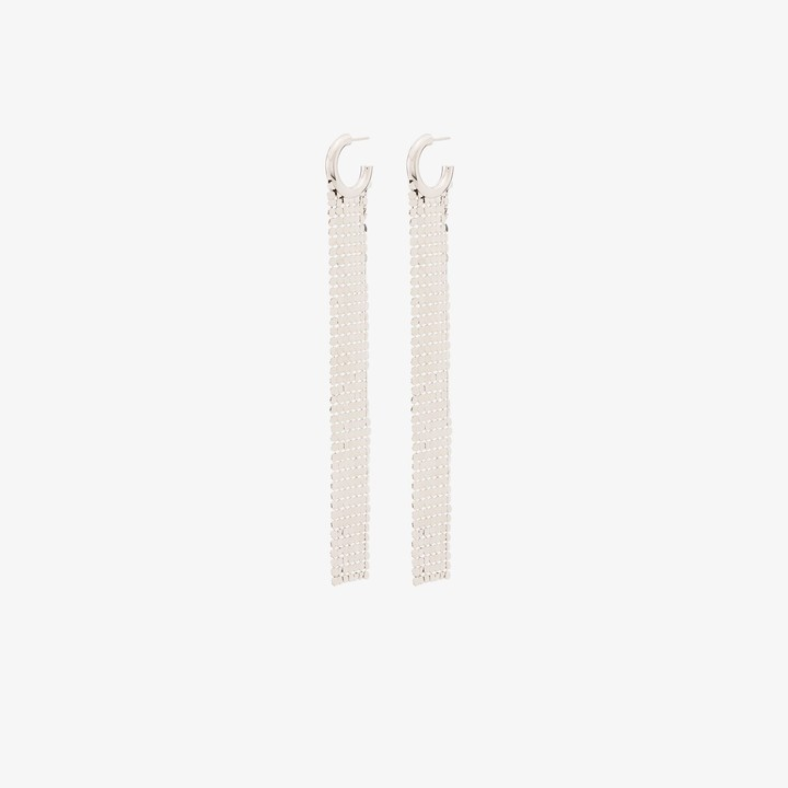 Paco Rabanne silver tone Pixel chain mail earrings