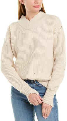Helmut Lang Distressed Wool V-Neck