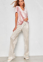 Missy Empire Sylvie Silver Pleated Wide Leg Trousers