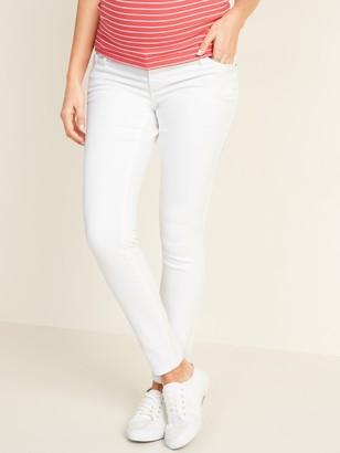 Old Navy Maternity Premium Full-Panel Rockstar Super Skinny White Jeans